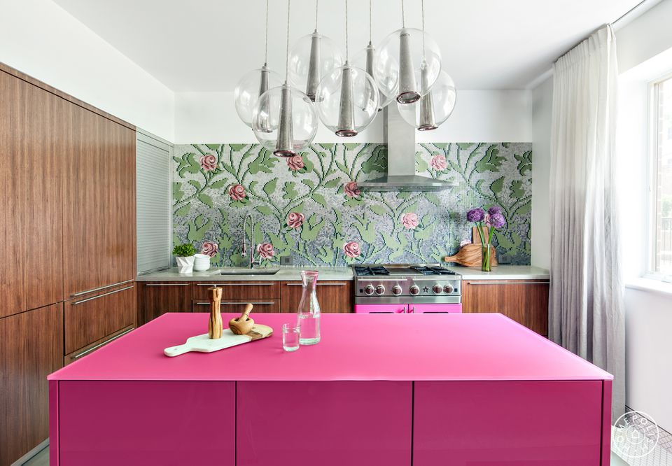 pink kitchen island