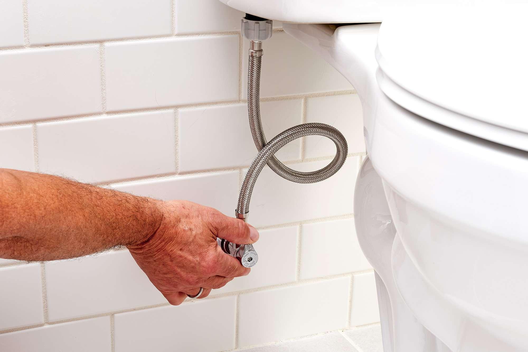 Water shut off by turning shutoff valve under toilet