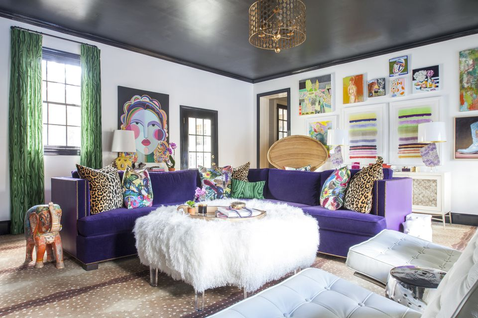 ultra purple sofa in colorful living room