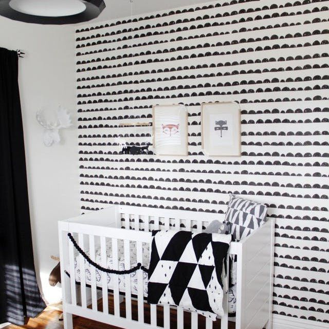 Black and white nursery with eclectic mix of graphic patterns