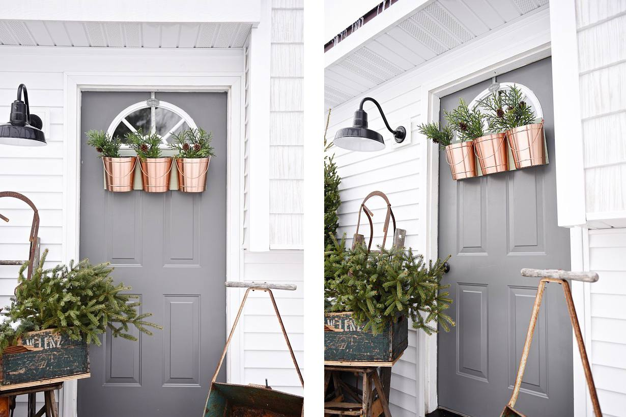 Copper christmas door planters for porch