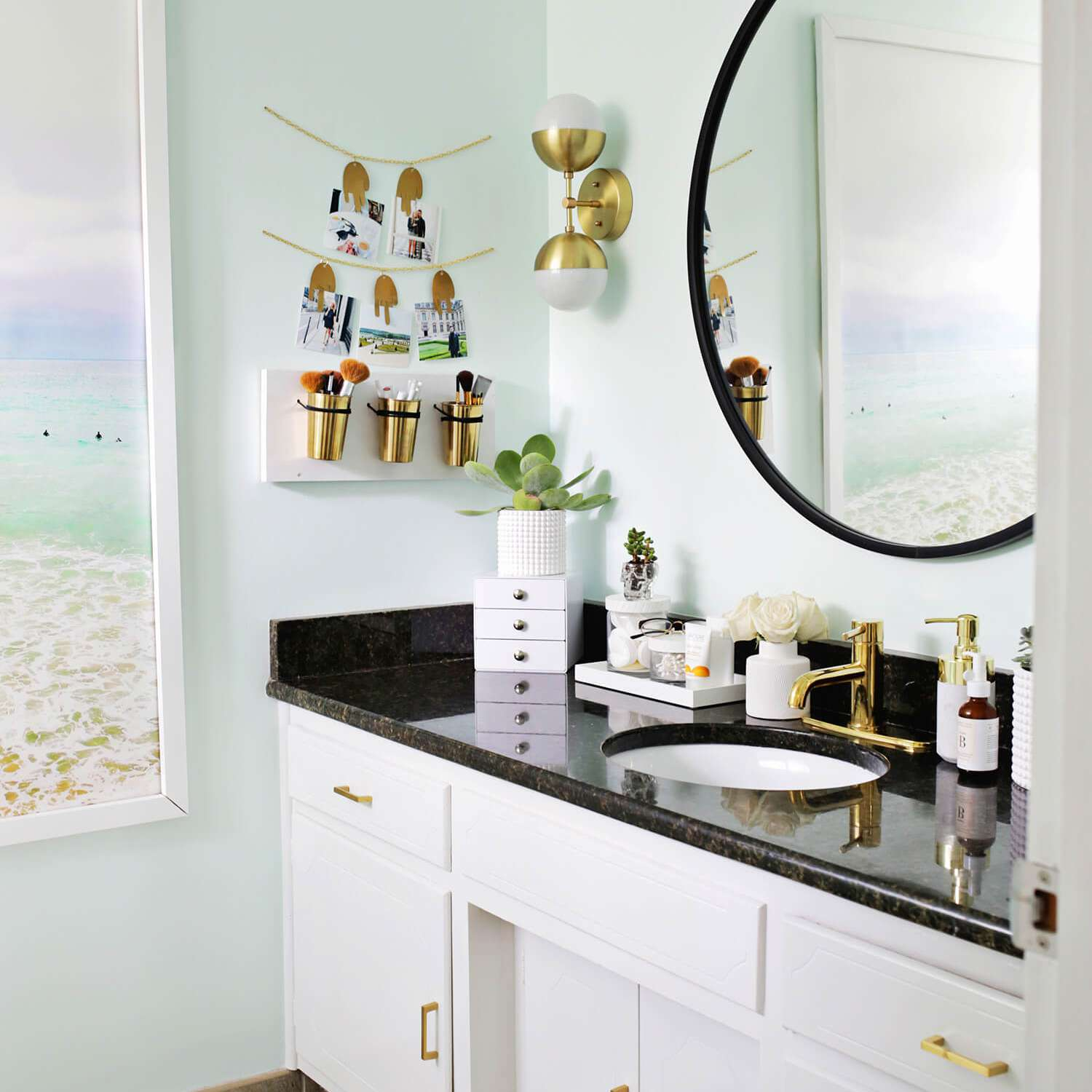 Contemporary bathroom with DIY leather and copper makeup organizer