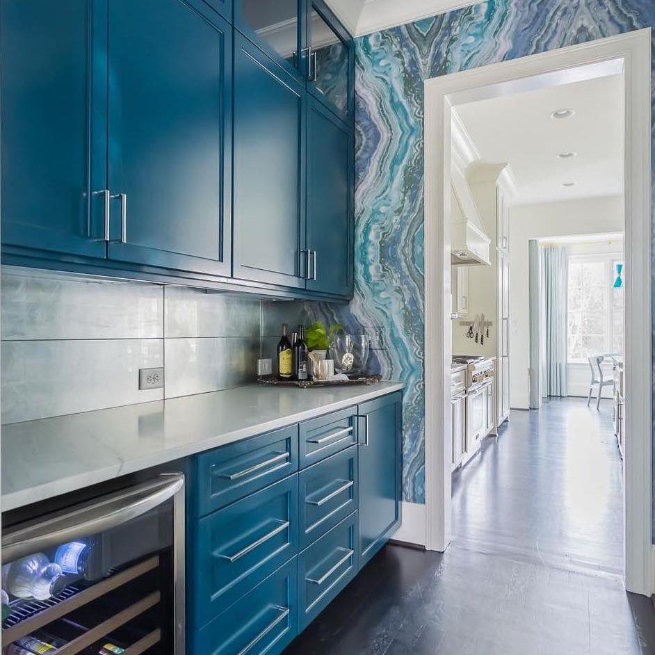 Blue butler's pantry
