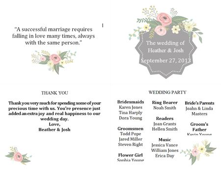 Free Wedding Program Templates You Can Customize - Floral wedding program templates