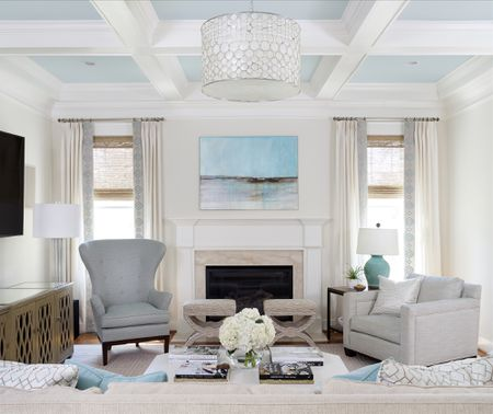 Coffered Ceiling With Coffers Painted Sky Blue