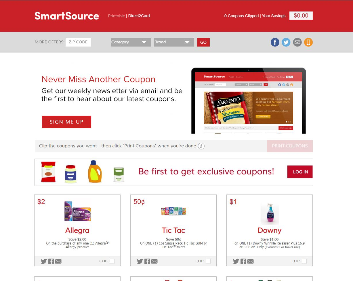 The homepage of SmartSource