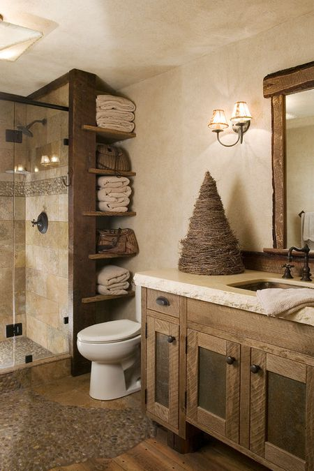 Bathroom Rustic Lodge Wood