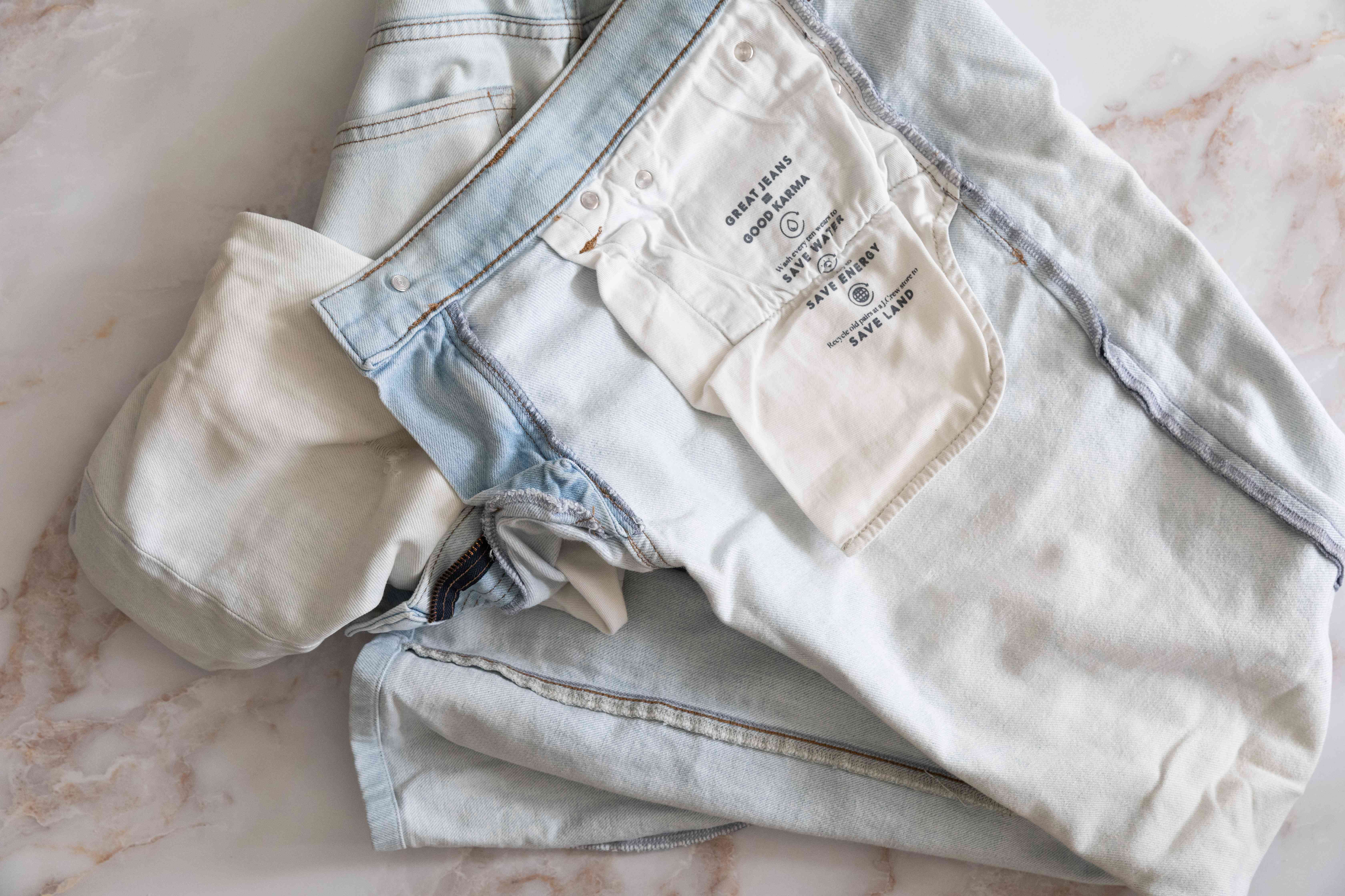 Denim pants turned inside out for cleaning