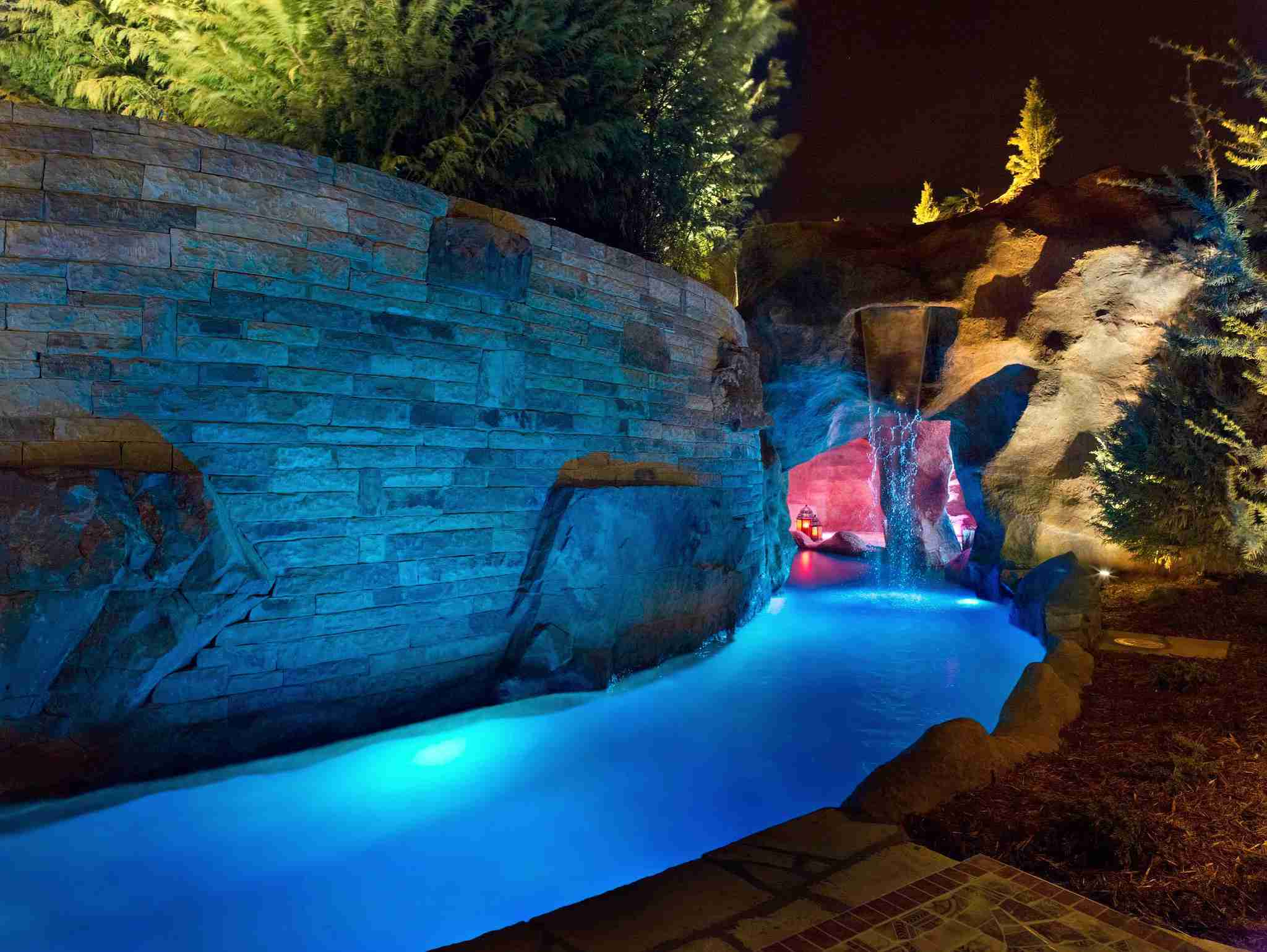 swimming pool stream and grotto