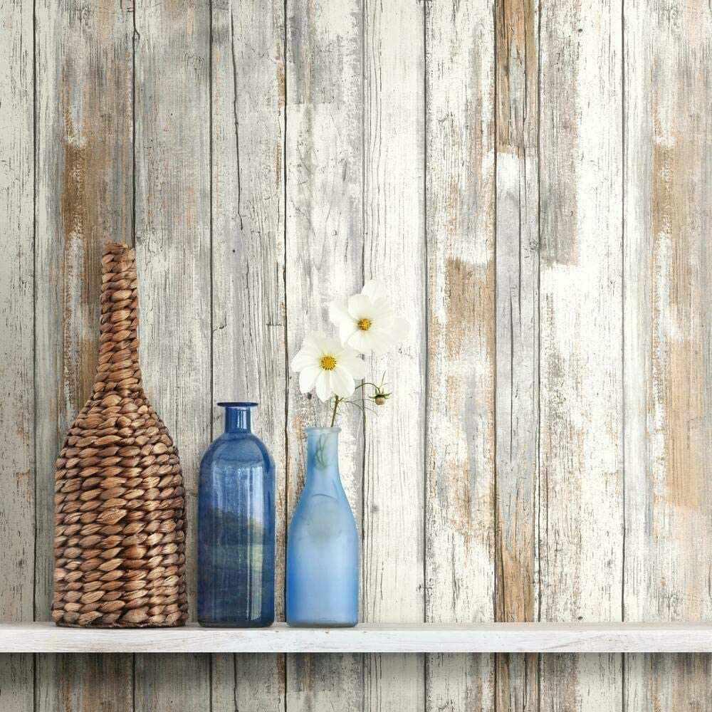 RoomMates Distressed Wood Peel & Stick Wallpaper