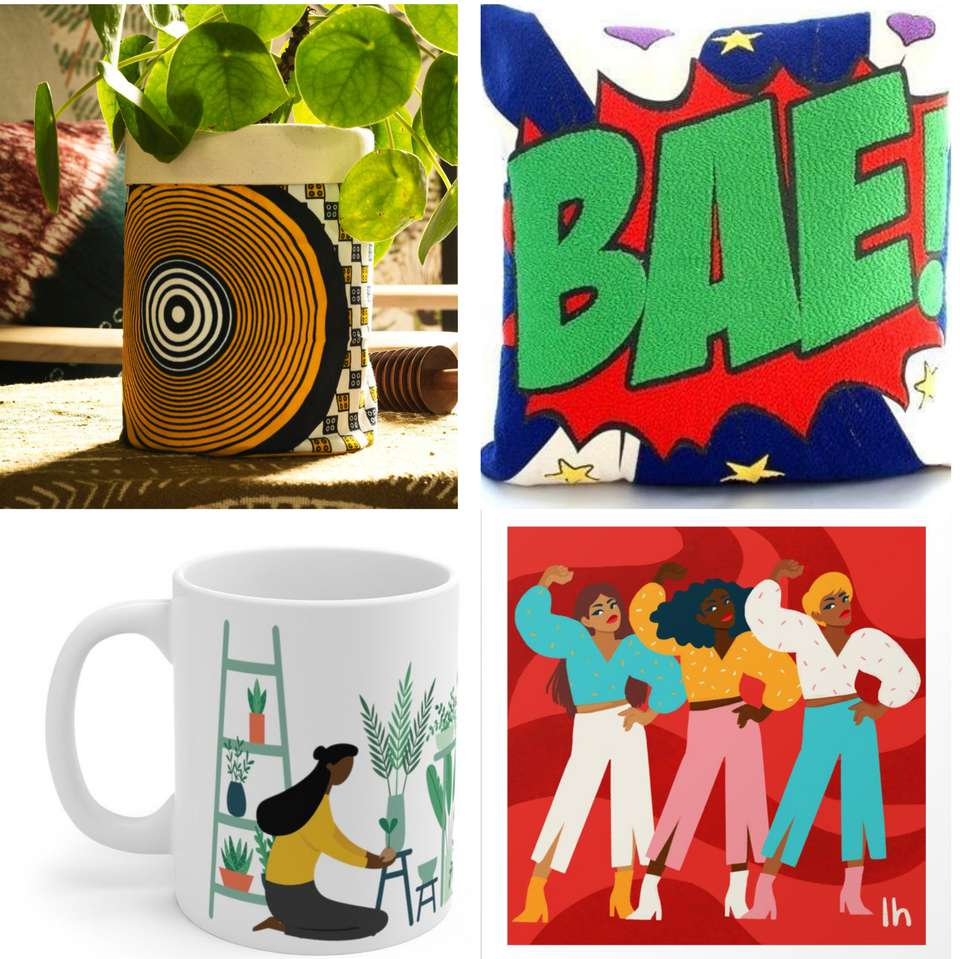 gift ideas from Black-owned businesses, including canvas pot, bae pillow cover, plant-lover's mug, ladies' night print