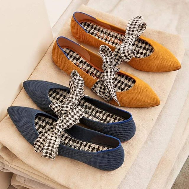 Rothy's Mary Jane Golden Gingham Shoes