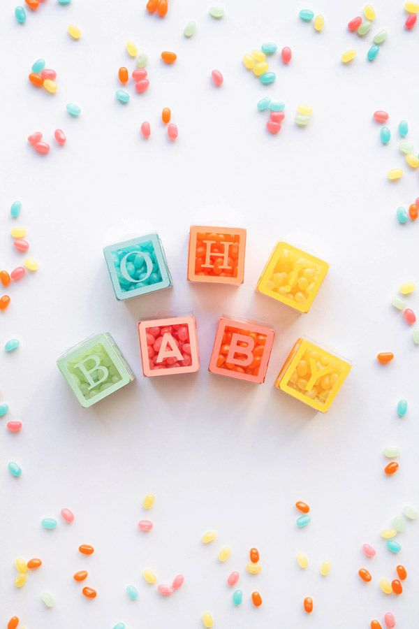 DIY Baby Shower Candy Blocks Favors