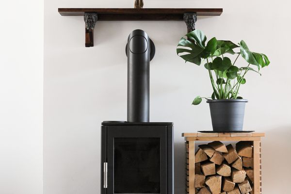 Wood burning fireplace with picture frames, plants, and extra wood.