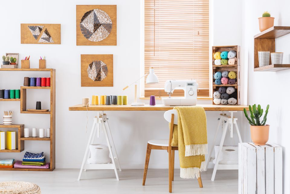 craft room with organized shelving