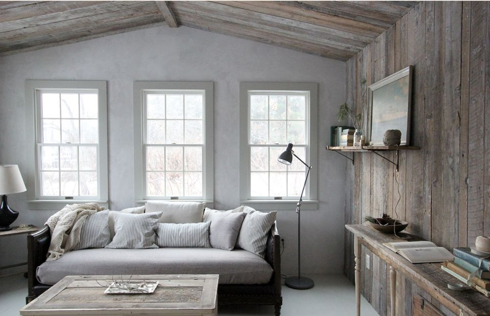 Living room with wooden walls