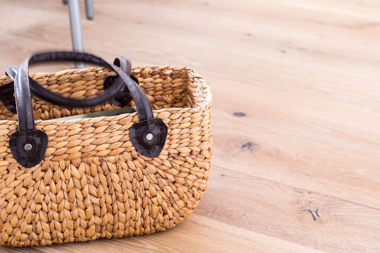 Basket purse on floor