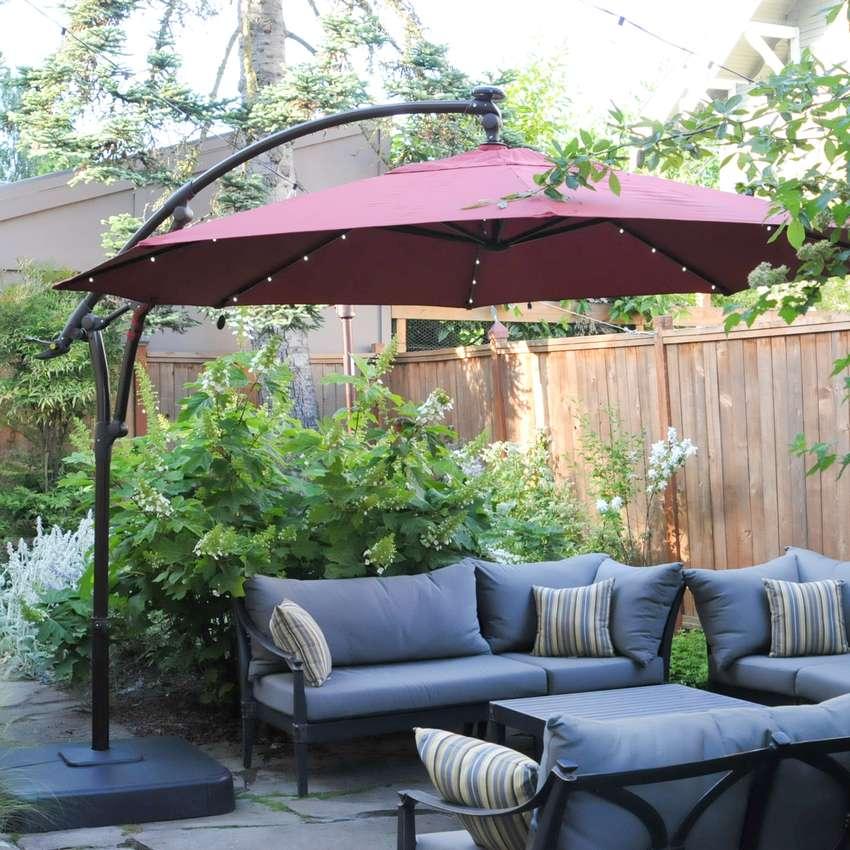Hampton Bay 11 ft. LED Offset Solar Umbrella