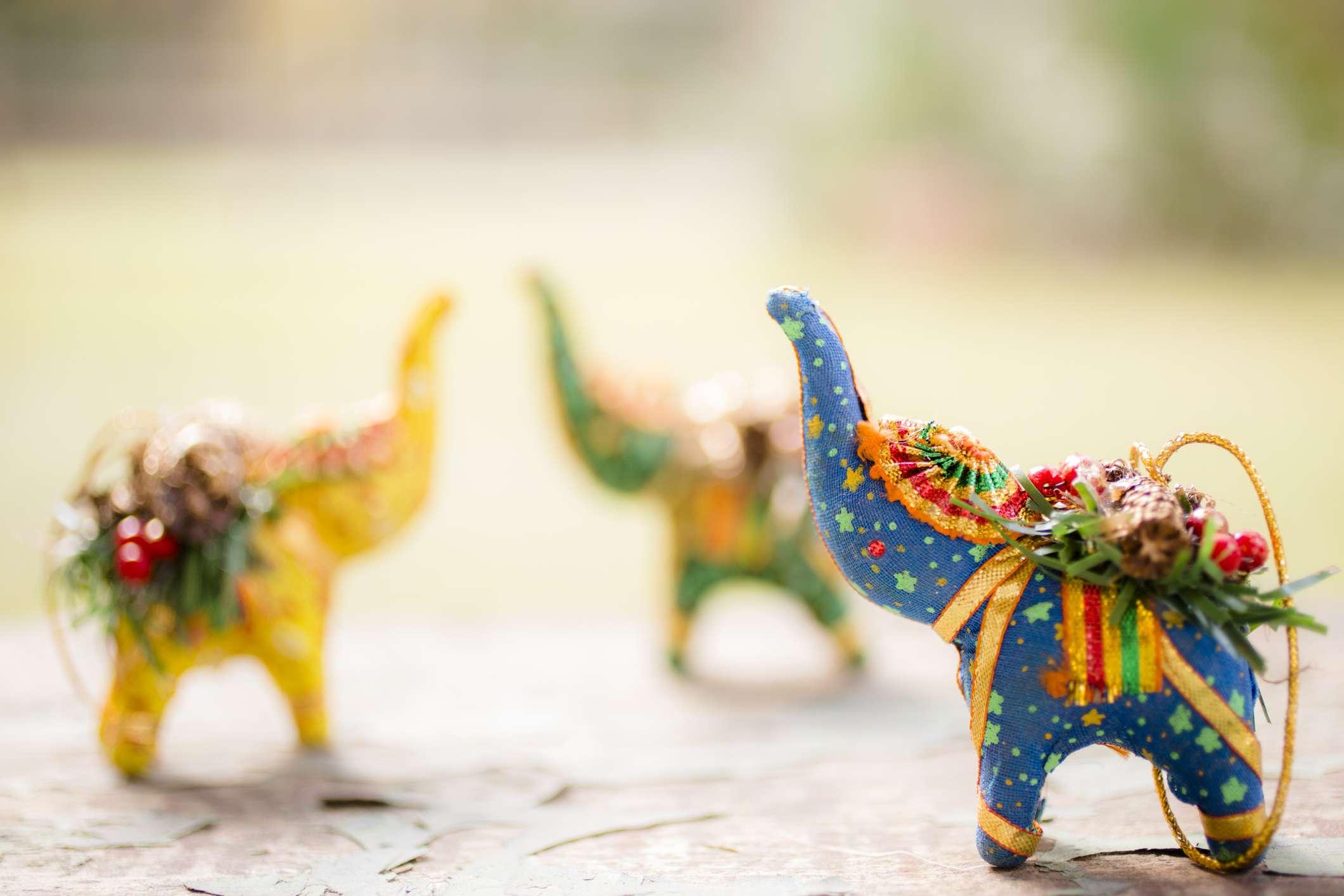 colorful elephant ornaments