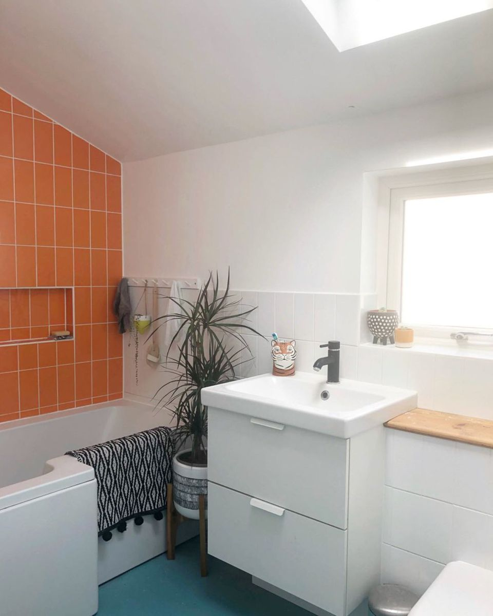 Bathroom with orange tile