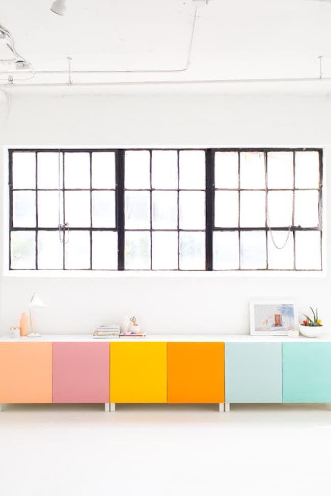 Colorful ikea cabinets