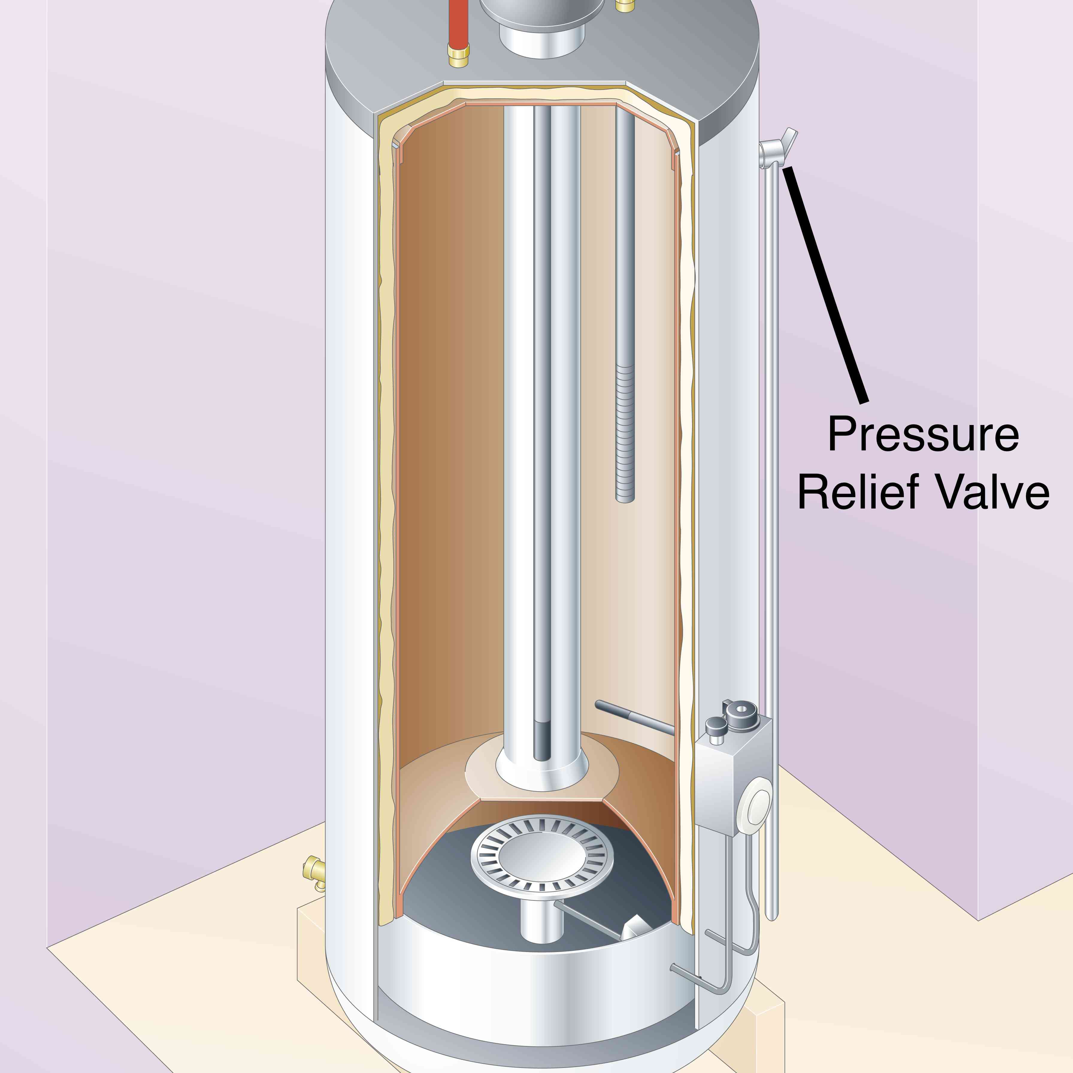 Inside of a gas hot water heater, pressure relief valve