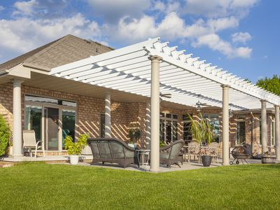 Scenic Brick House With Large Patio and Pergola