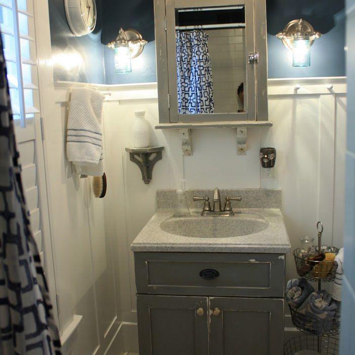 Bathroom with DIY mason jar sconces