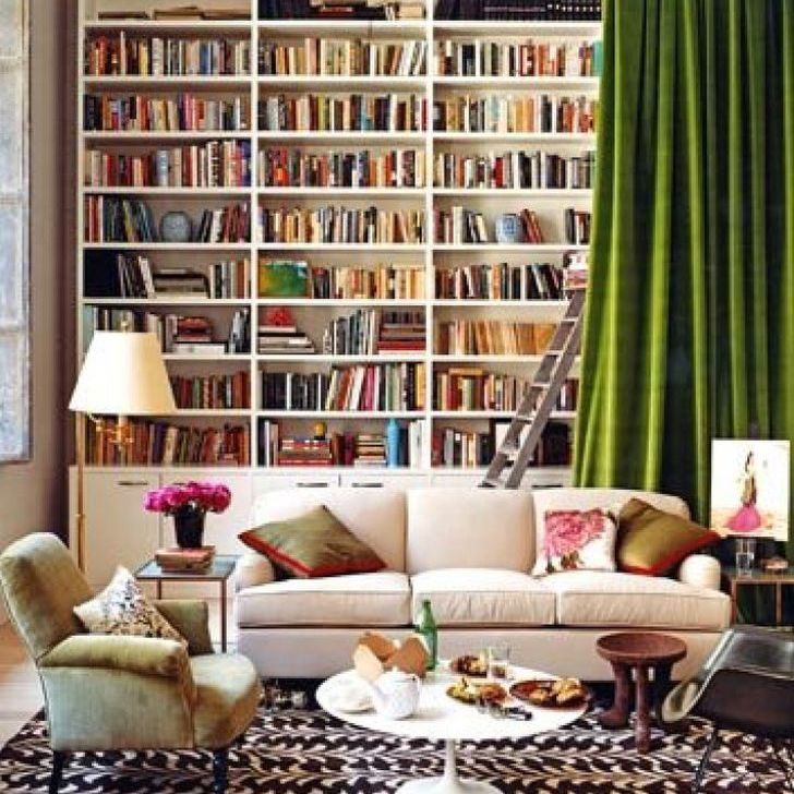 Home library with hideaway curtain