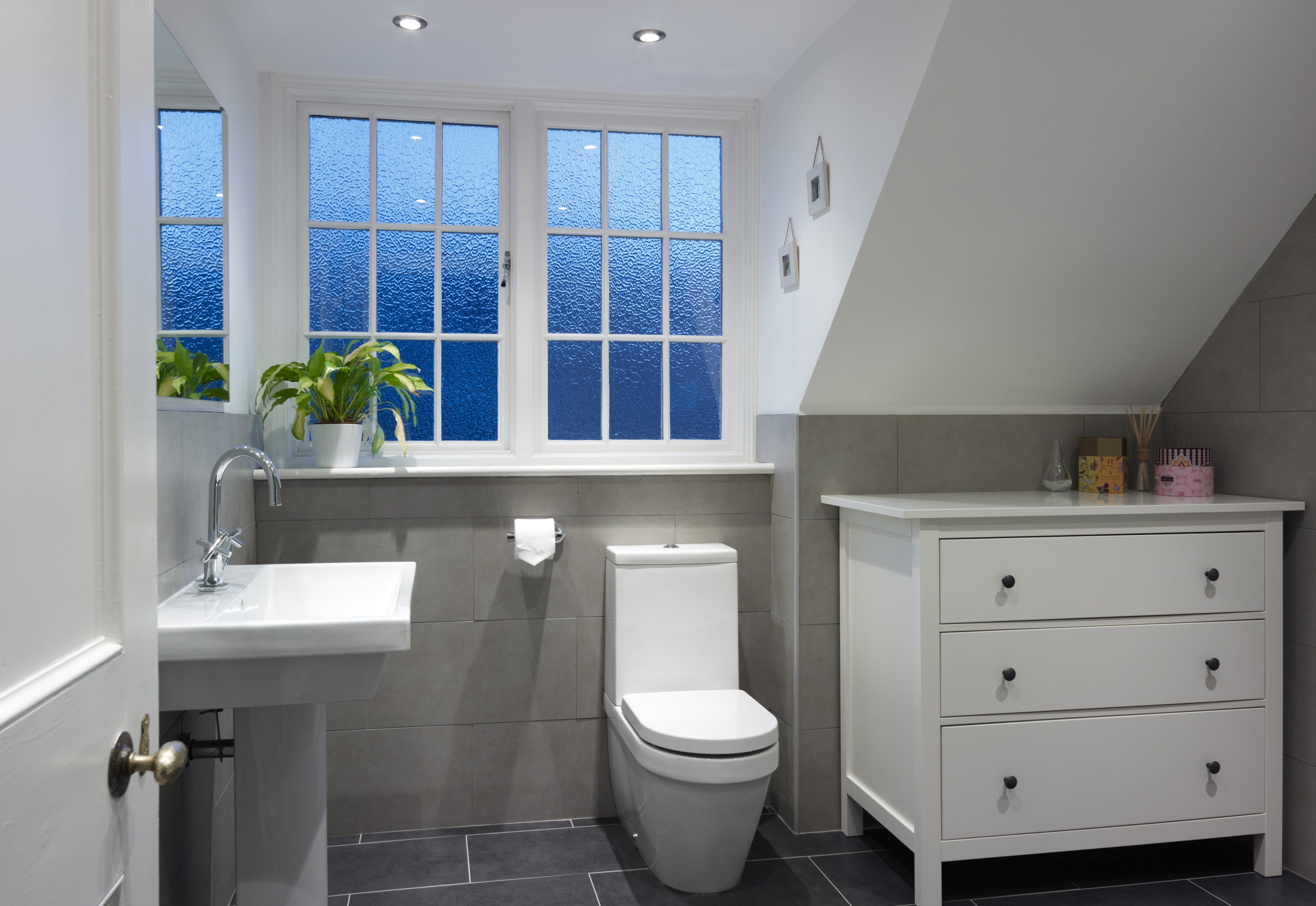 small toilet and sink beneath 9-paned windows of a dormer interior