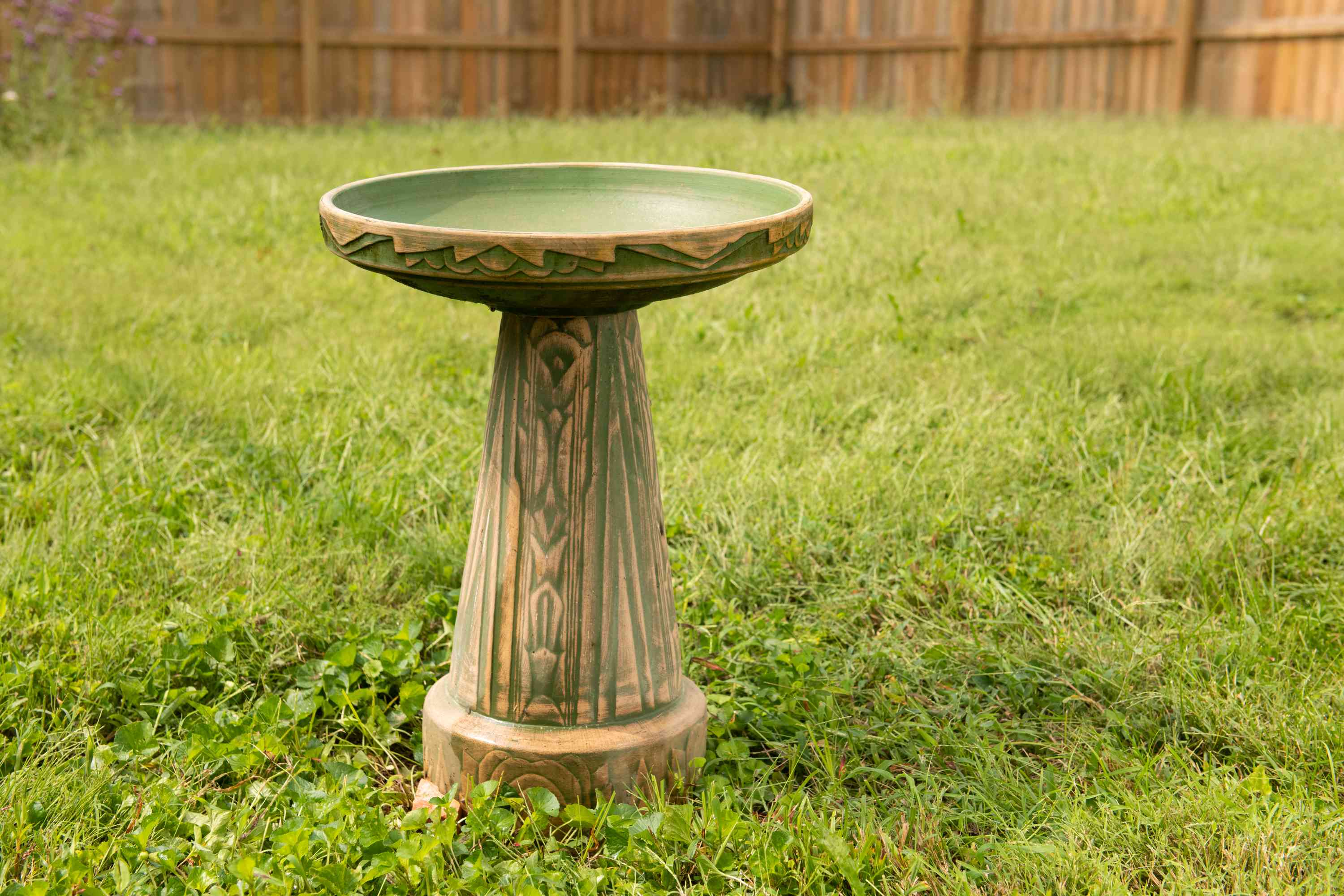 allowing the bird bath to dry