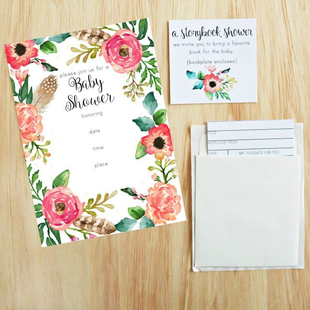 A Floral Baby Shower Invitation On Table