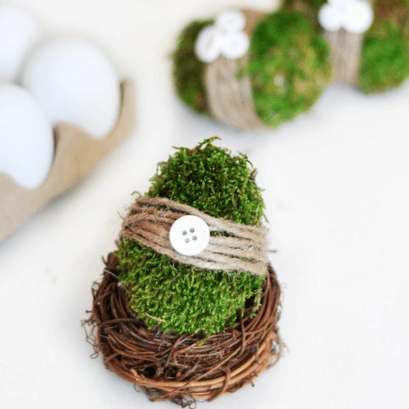 Moss Covered Easter Eggs