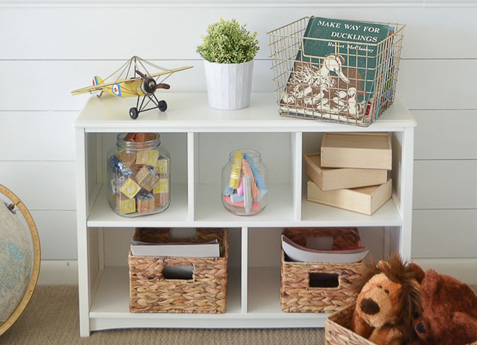 cube shelving and fabric storage bins
