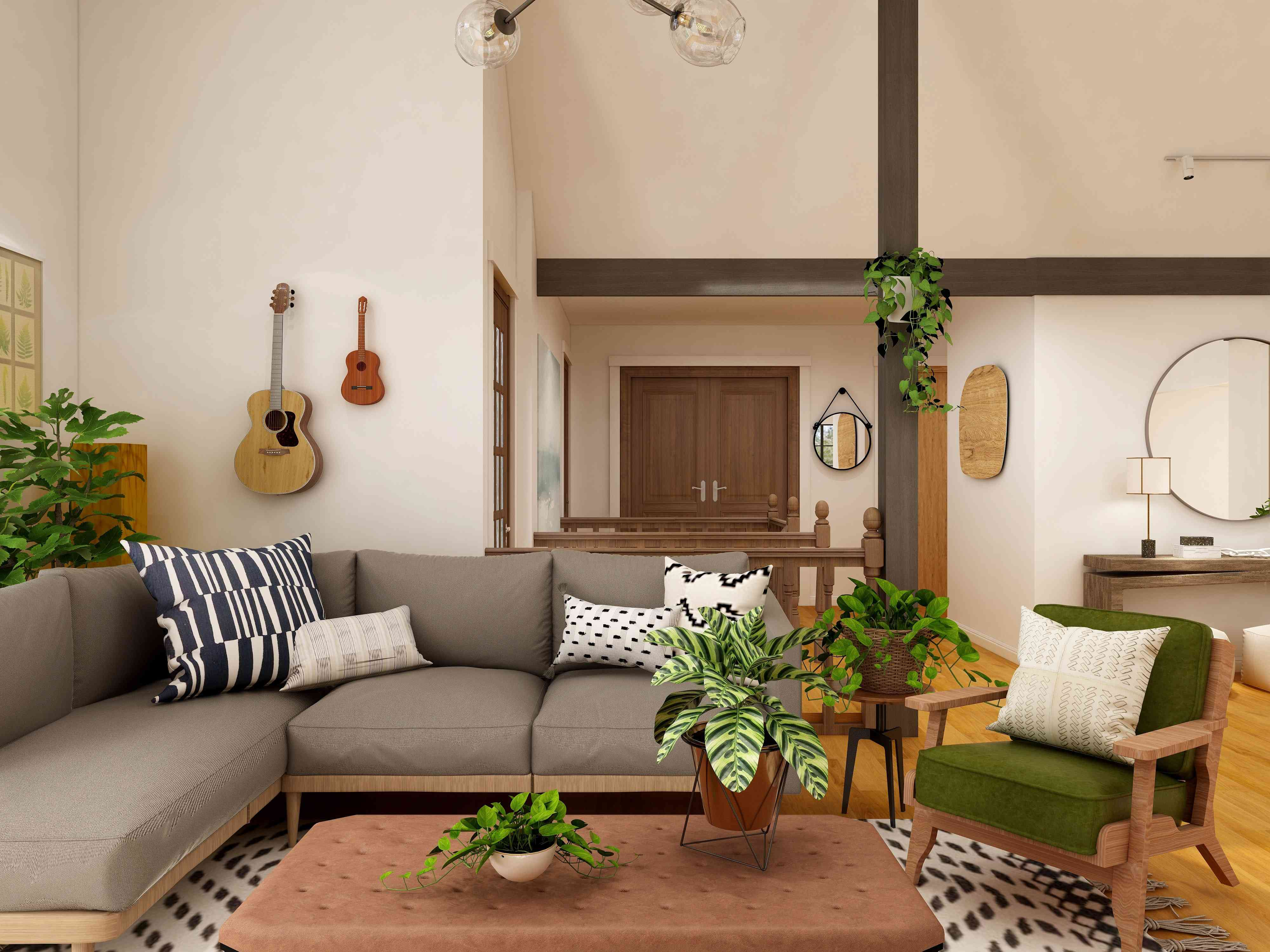 living room with brown, neutrals, and green plants