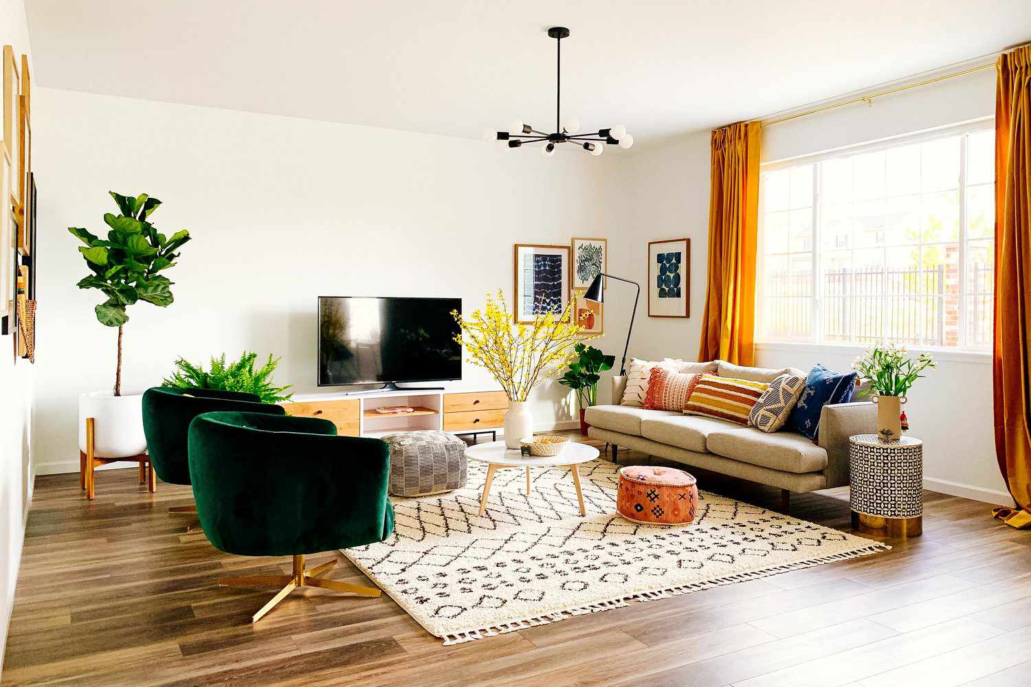 Moroccan rug and pouf in a living room