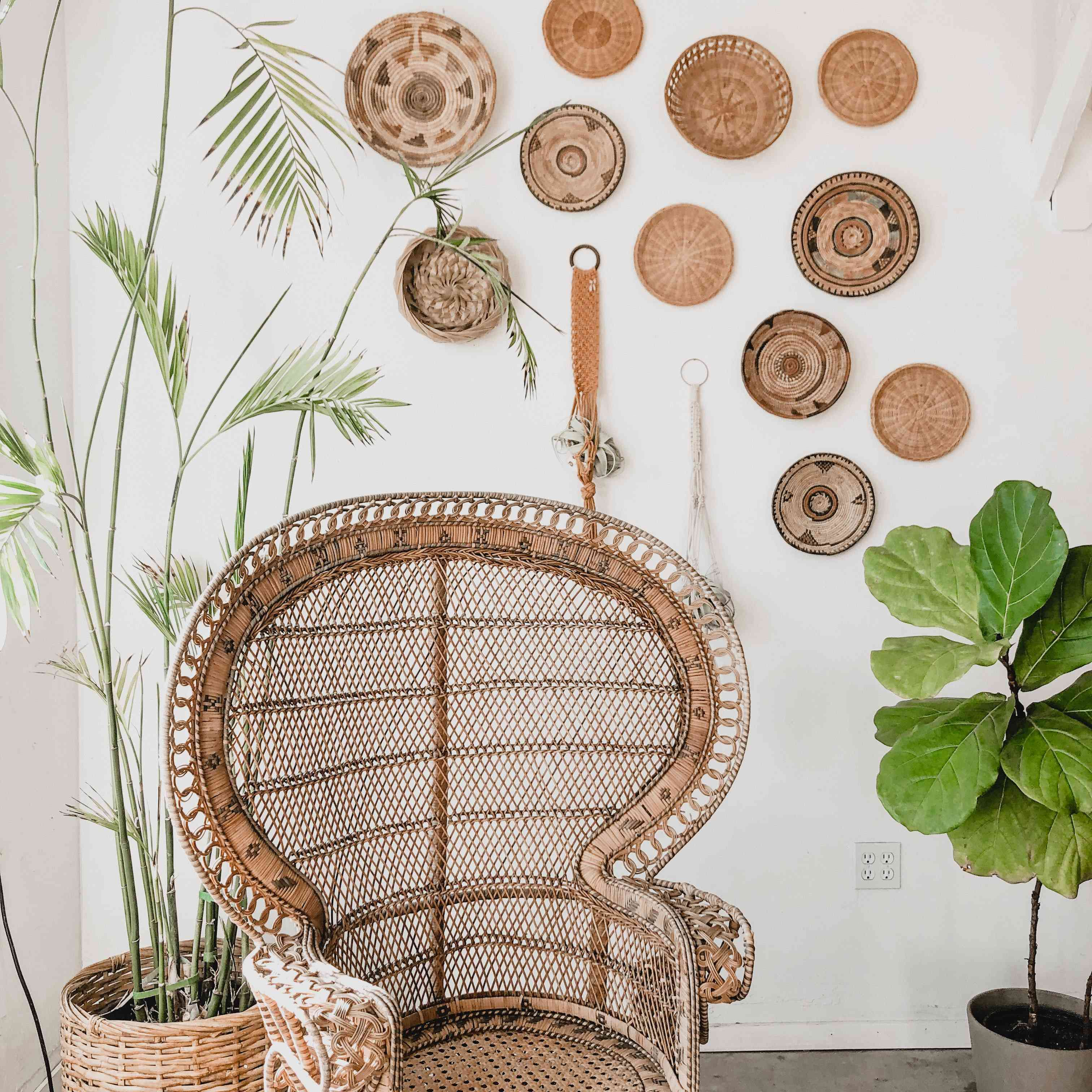 brown wicker peacock chair and other brown decorations with green plants