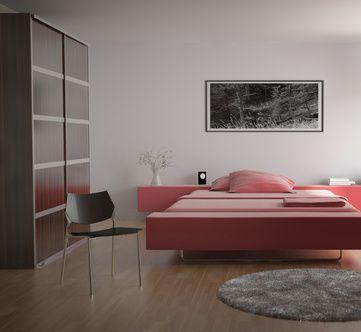 Interior de dormitorio moderno relajante.