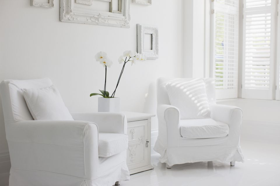 Armchairs in elegant white living room