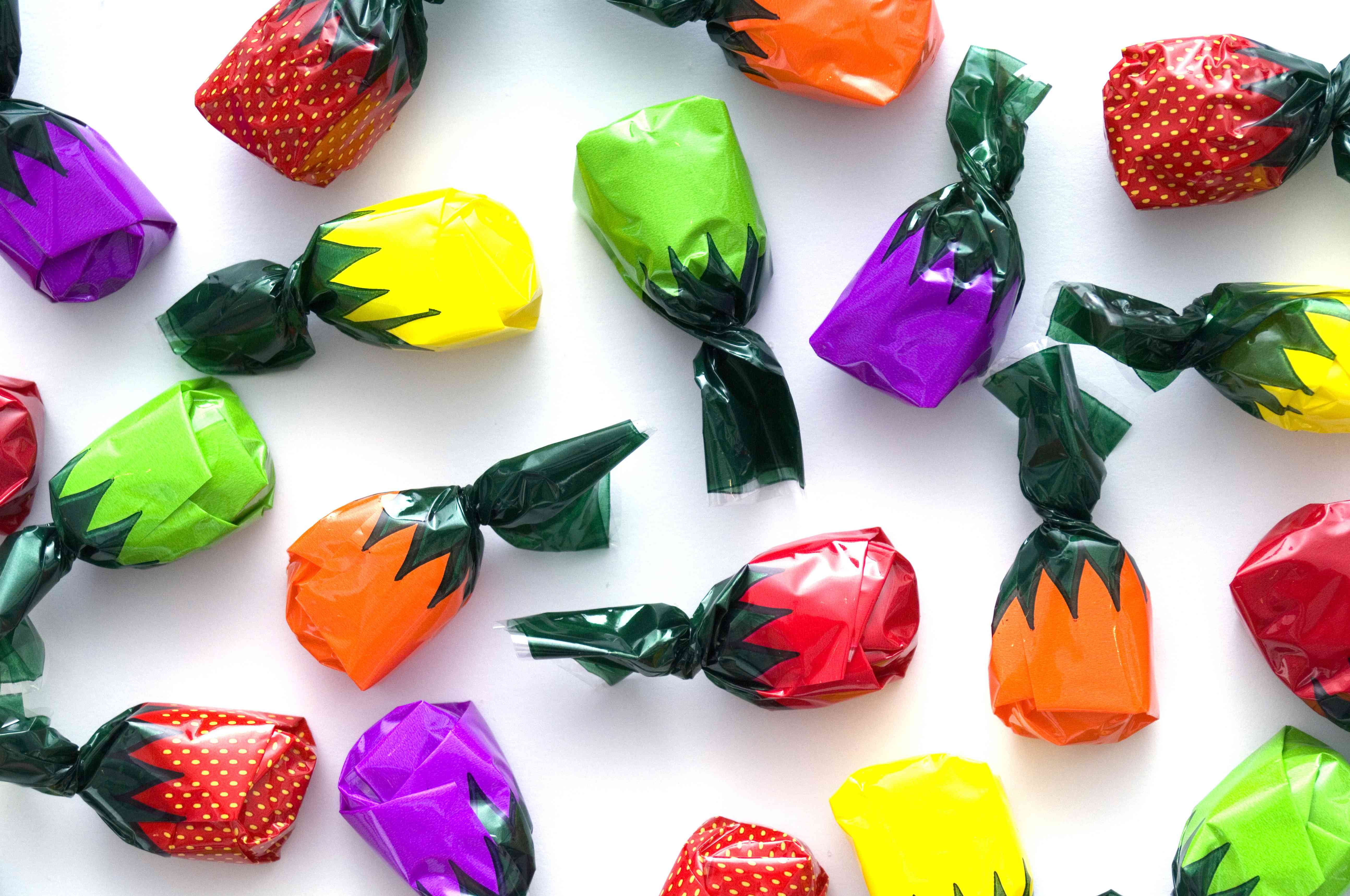 Multi-colored fruit candy