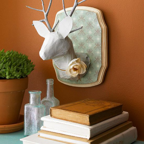 DIY animal bust with paper mache stag head