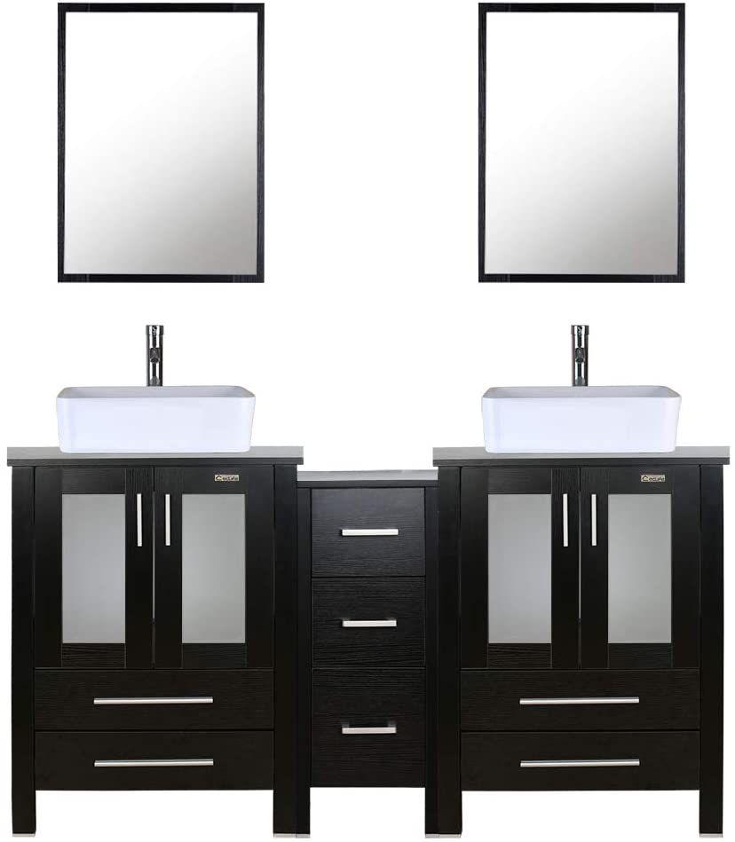 "U-Eway 60"" Double Vanity With Porcelain Basin Sinks"