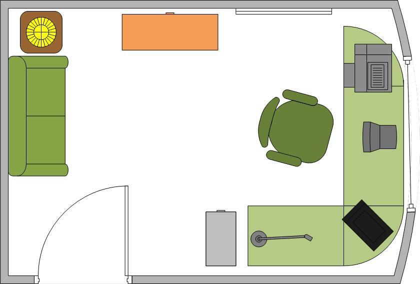 Ejemplo de oficina en casa con ventana panorámica