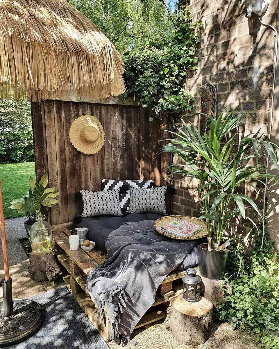 Outdoor patio with a bed