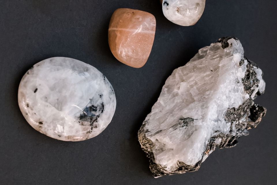 trio of moonstone crystals