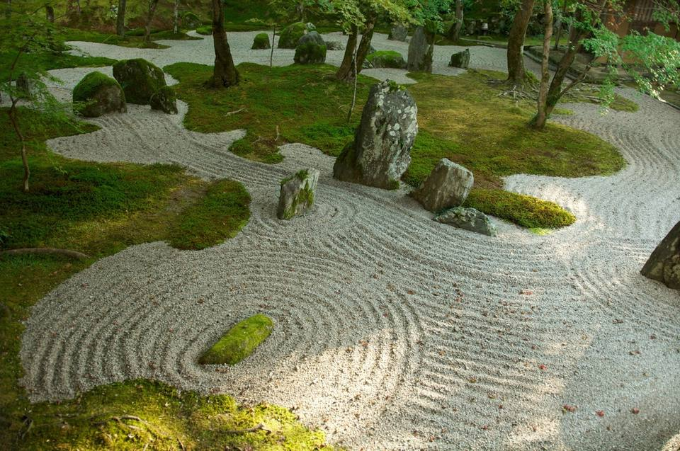 High angle view of a Japanese zen garden.