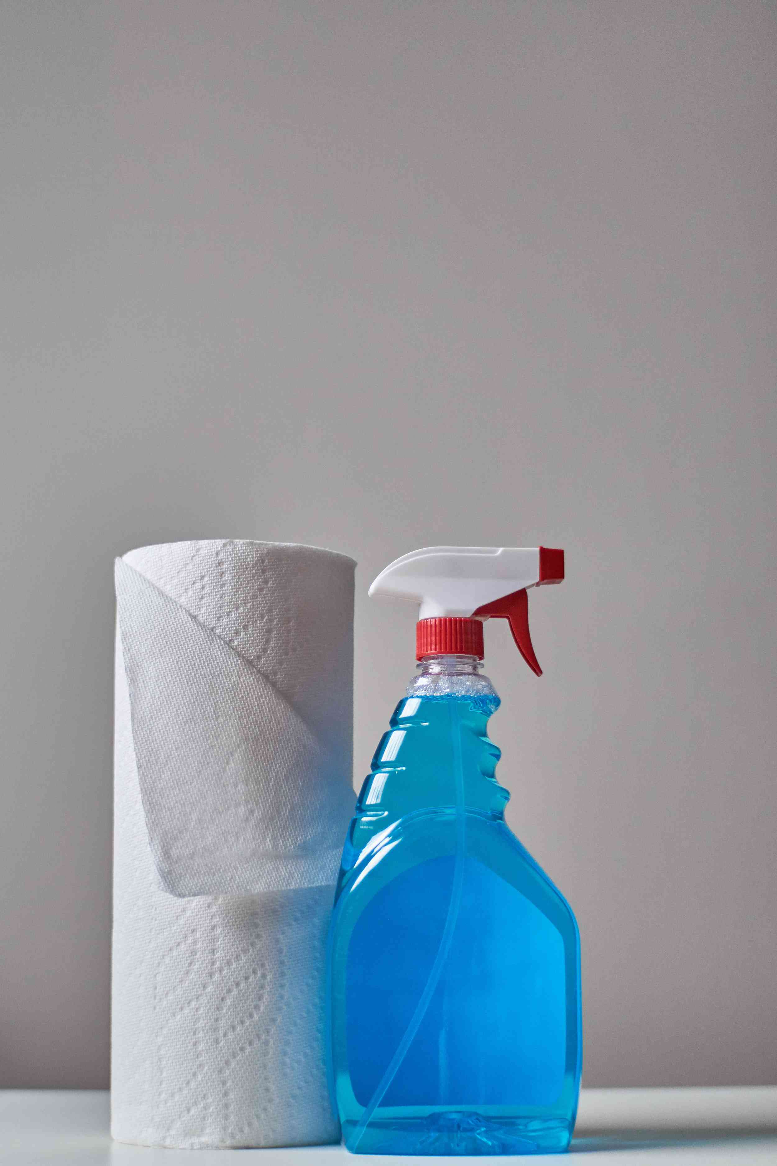 Cleaner and paper towels