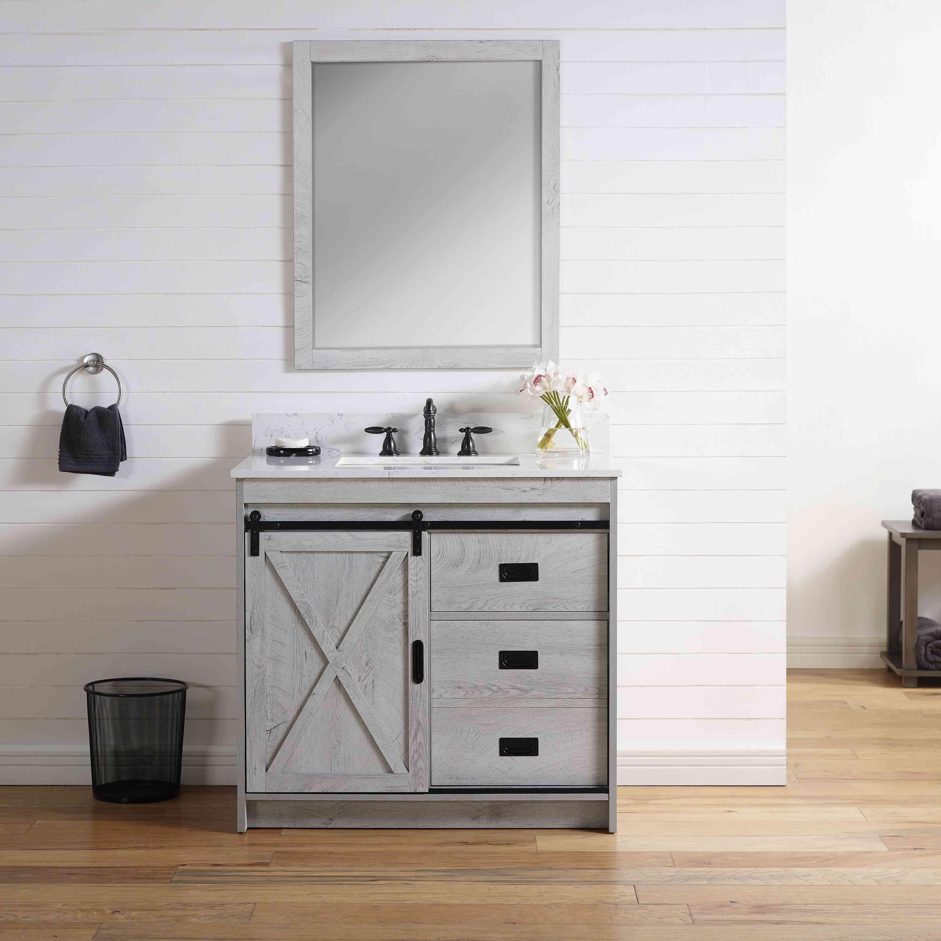 "Coastal Farmhouse Jillian 36"" Single Bathroom Vanity Set"