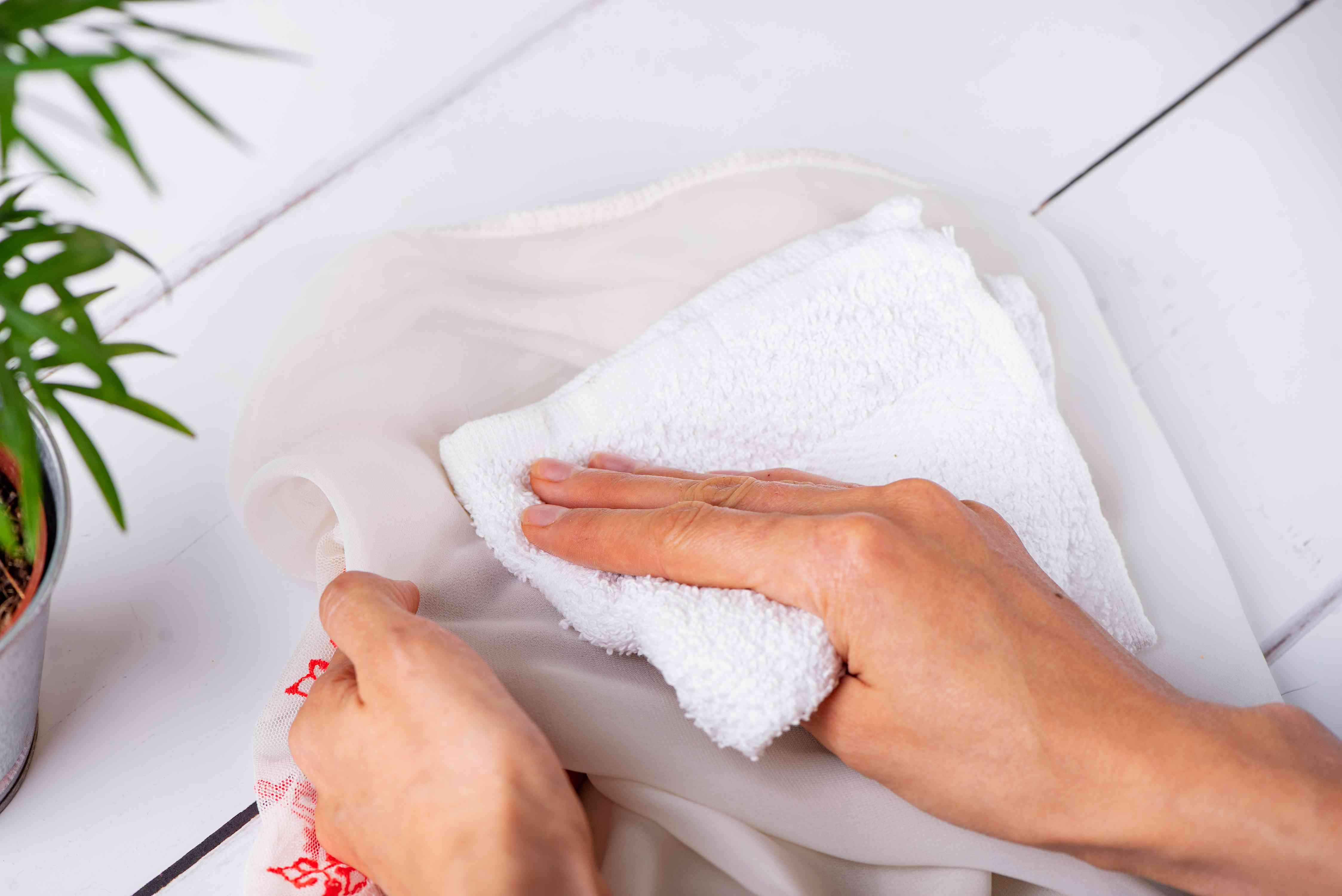 blotting a dry clean only garment