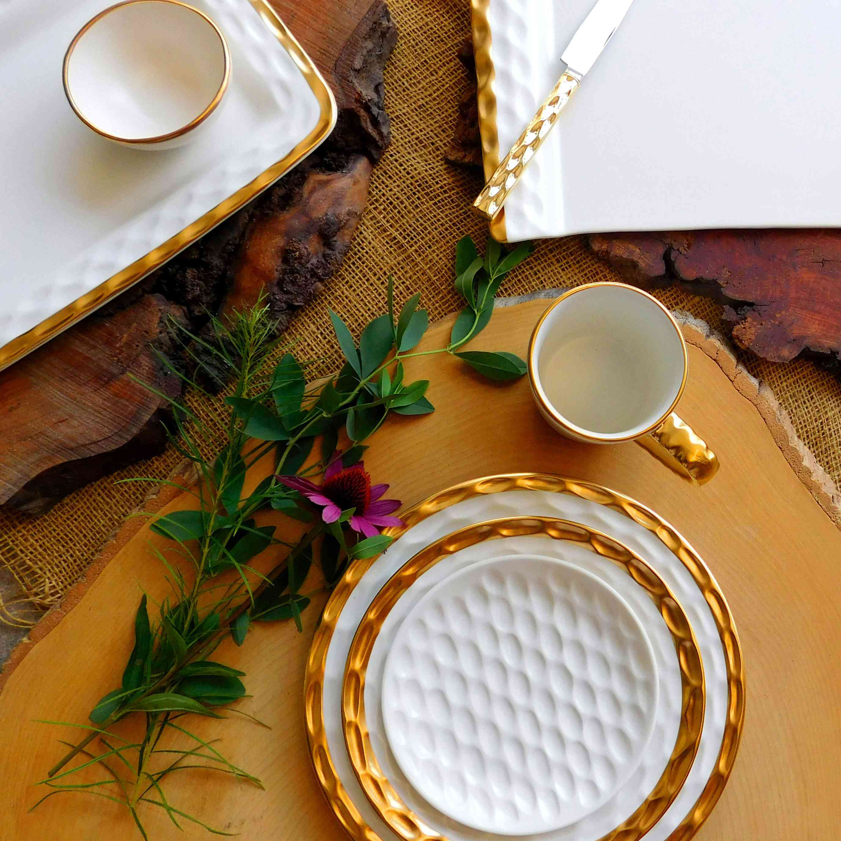 Fall tablescape with gold serveware